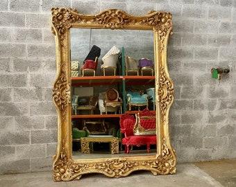 "French Mirror Gold *1 Left in Stock* Interior Design Baroque Mirror French Furniture 7.5'H x 5.5'W x 5.5""D Heavy Mirror Rococo Gold Mirror"