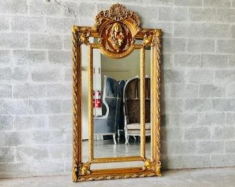French Mirror *1 in Stock Left* French Baroque Mirror Rococo Mirror Antique Mirror 7.2 Feet Tall Gold Leaf Antique Furniture Interior Design