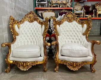 Rococo Chair White Leather *2 Chairs Left* French Chair Vintage Furniture French French Vintage Chair Baroque Interior Design