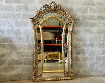 French Mirror Curved Mirror Baroque Mirror Rococo Antique Mirror Gold Leaf Furniture Interior Design Furniture Vintage Mirror