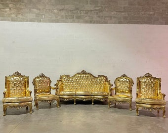 French Chair Vintage Settee *5 Piece Set Available* Vintage Furniture Gold Leather Chair French Interior Design Rococo Furniture Baroque