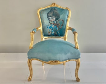 "SOLD* French Vintage Chair 1 of 2 with Nataly #Kukula Printed Art titled ""Gilded Ewer"" French Chair Velvet 1 of a Kind Chair Interior Design"