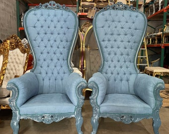 Blue Throne Chair Blue Velvet Chair French Tufted Chair Throne Tufted Velvet Chair Tufted Blue Frame Throne Chair Rococo Interior Design