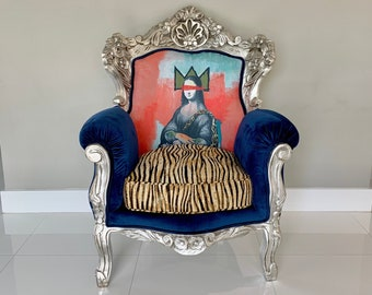 SOLD* Baroque Custom Chair #SkelArt *Signed by Artirst* Vintage Chair Silver Antique Furniture French Chair Mona Lisa Chair Interior Design