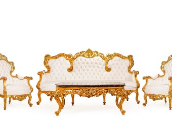Rococo Chair White Leather French Chair Vintage Furniture French Settee *4 Piece SET* French Vintage Chair Baroque Interior Design