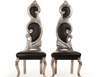 French Chair Vintage French Silver Chair Black Leather Furniture Interior Designer *2 Available* Baroque Furniture Rococo Vintage French