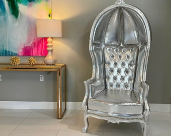 French Balloon Chair Silver Leather Throne Chair *2 Available in Stock* High-Back French Canopy Silver Chair Silver Leather Interior Design