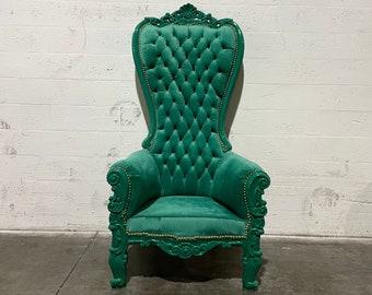 Green Throne Chair Green Velvet Chair *1 LEFT* French Chair Throne Green Velvet Chair Tufted Gold Throne Chair Rococo Vintage Chair