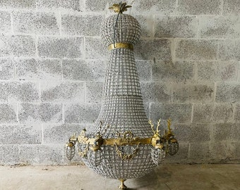 Extra Jumbo Stag Chandelier *XX Extra Almost 5 Feet Tall Tall French Stag Deer Head JUMBO Basket Brass Empire Bowl Interior Design