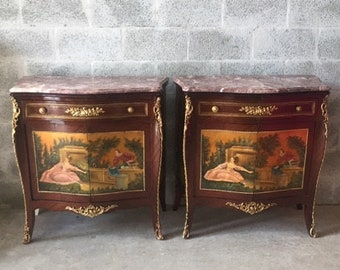 French Commode French Furniture HandPainted *Set of 2* Refinished Bronze Rococo Commode Baroque Marble Top Table Antique Commode