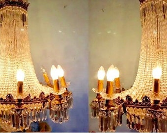 """Pair of French Chandelier *Set of 2* LARGE French Crystal Chandelier 44""""H x 28""""W Interior Design"""
