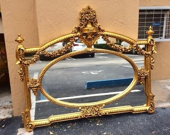 "French Mirror Gold Throne Carved Excellent Condition *2 Available* 52""W x 43""H Louis XVI Mirror Rococo Mirror Baroque French Furniture"