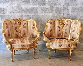 SOLD* French furniture French Chairs Louis XVI Antique Furniture Rococo Furniture Baroque French Chair Gold Leaf *2 Chairs Avail* French