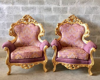 Rococo Furniture Bergere Chair Antique Italian Throne *4 Chairs Avail* Gold Leaf Purple Lavender Damask Baroque Furniture Rococo Louis XVI