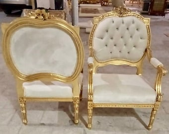 French Chair Vintage Settee *3 Piece Set Available* Vintage Furniture Off-White Velvet Chair French Interior Design Rococo Furniture Baroque
