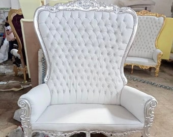 Silver Throne Chair Double Throne 2 Seater White Leather Chair *1 Left* French Tufted Chair Throne Chair Tufted Silver Frame Rococo