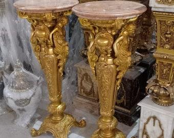 French Pillar (a pair) Vintage Pillar Brass Heavy Marble Table Side Antique Pillar French Furniture Baroque Rococo Interior Design