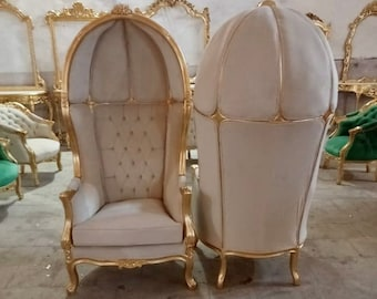 French Balloon Chair Throne Chair *2 Available* High-Back French Canopy Gold Chair Tufted Off-White Velvet Interior Design