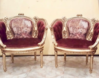 French Chairs French Tufted Chair Corbeille French Furniture Vintage Chair Gold Frame Baroque Furniture Rococo Chair Antique Furniture