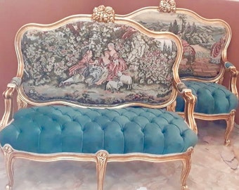 French Settee A pair Available French Marquise Louis XVI French Furniture Teal Velvet Tufted French Interior Design Baroque Furniture Rococo