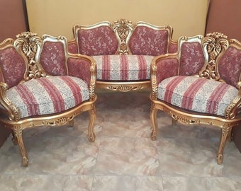 French Chairs French Marquise *3 Piece Set* Corbeille Chair French Furniture Vintage Chair Baroque Furniture Rococo Chair Antique Furniture