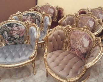 French Chairs *Set of 6* French Tufted Chair Corbeille French Furniture Vintage Chair Gold Frame Baroque Furniture Rococo Chair Antique