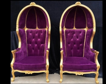 French Balloon Chair Purple Velvet Throne Chair *2 Avail* High-Back Reproduction Gold Chair Tufted Purple Upholstery French Interior Design