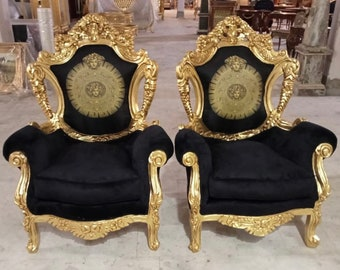 French Chair Vintage Corbeille *2 Available* Vintage Furniture Black Velvet Chair French Interior Design Rococo Furniture Baroque