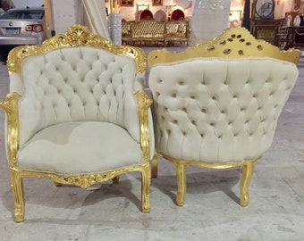 French Chair Vintage Corbeille *2 Available* Vintage Furniture Off-White Velvet Chair French Interior Design Rococo Furniture Baroque