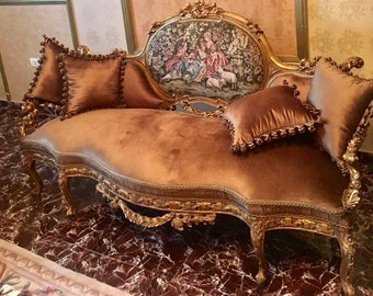 Baroque Sofa Baroque Settee French Sofa Vintage Furniture Vintage Sofa Rococo Velvet Tufted Gold Frame Interior Design