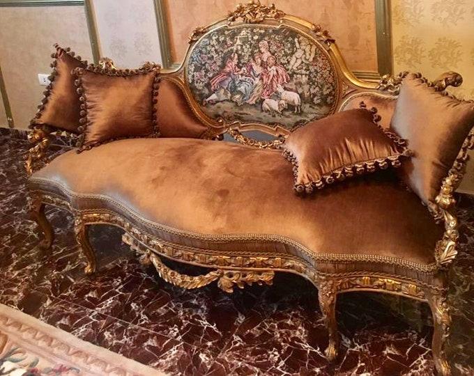 Featured listing image: Baroque Sofa Baroque Settee French Sofa Vintage Furniture Vintage Sofa Rococo Velvet Tufted Gold Frame Interior Design