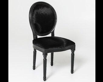 French Chair Custom Black Cowhide *1 Available* Louis XVI Chair Vintage Furniture 1 of 1 Original Black Satin Frame Black Satin Nailheads