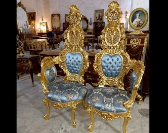 Italian Baroque Throne Chair High Back Tall French Tufted Chair Rococo Furniture Vintage Chair Interior Design Vintage Furniture