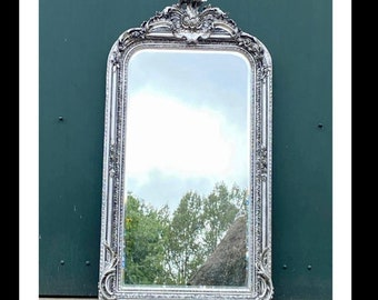 French Mirror *Only 1 Left* French Baroque Mirror Rococo Mirror Antique Mirror 5' Tall Silver Leaf Antique Furniture French Interior Design