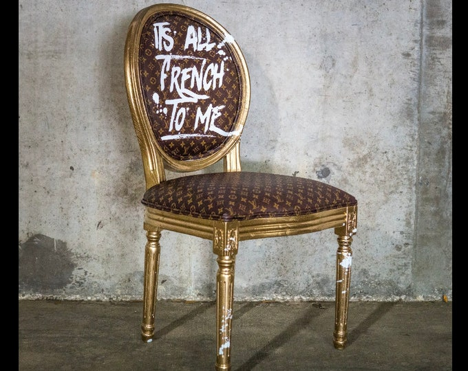 Featured listing image: French Chair LV Chair Custom Louis Vuitton Authentic Leather 1 Availalble Vintage Furniture Caramel Metalic Gold Frame Hand Painted Graffiti