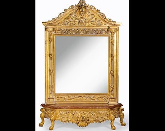 French Mirror Gold Antique Lion Head Mirror French Furniture 7 Feet Tall Marble Base Floor Mirror Rococo Baroque Furniture Gold Vintage