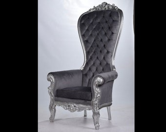 Silver Throne Chair Gray Velvet Chair French Tufted Chair Throne Grey Velvet Chair Tufted Silver Frame Throne Chair Rococo Interior Design