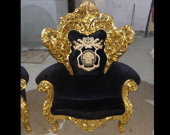 French Chair Black Velvet 2 Piece Availa French Tufted Vintage Furniture Antique Baroque Furniture Rococo Interior Design Vintage Chair
