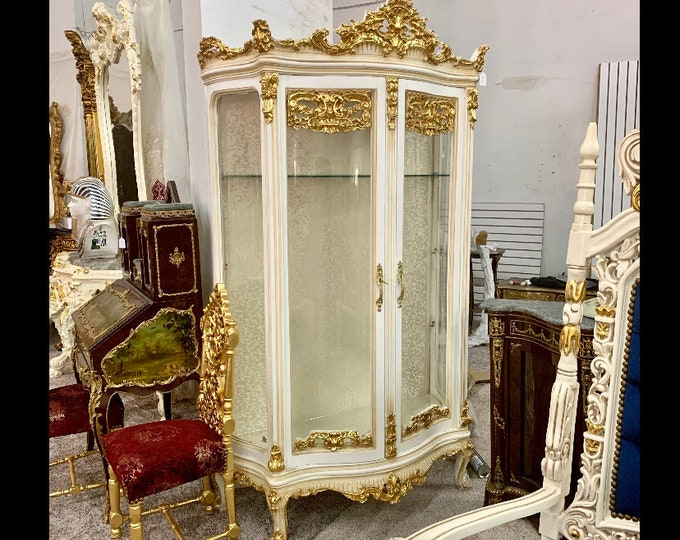 Featured listing image: Vintage Furniture Vintage Vitrine Cabinet French Louis XVI Rococo Furniture Baroque Interior Design 7 Feet Tall