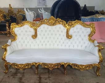 Rococo Chair White Leather French Chair Vintage Furniture French Settee *3 Piece Available* French Vintage Chair Baroque Interior Design