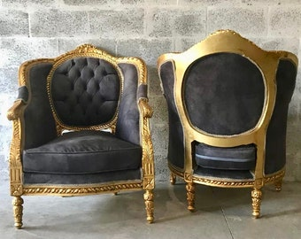 French Chairs French Furniture Chairs Vintage Furniture French Tufted Chair Refinish Gold Tufted Grey Gray Fabric Interior Design