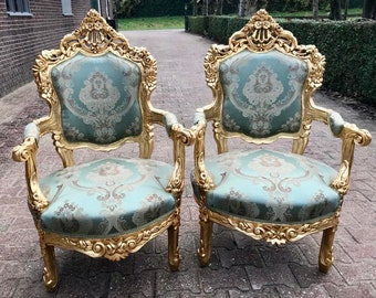 Baroque Chair Rococo Settee *2 Available* French Chair French Furniture French Settee Tufted Chair Gold Leaf Baroque Furniture Vintage Chair