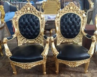 French Chair Vintage Chair *3 Piece Available* Vintage Furniture Tufted Black Leather Vintage Chair Baroque Furniture Rococo Interior Design