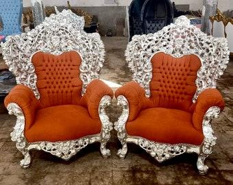 Baroque Chair Throne Vintage Chair Orange Velvet Interior Design Antique Chair Vintage Furniture Tufted Chair French Furniture
