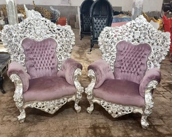 Baroque Chair Throne Vintage Chair Purple Velvet Interior Design Antique Chair Vintage Furniture Tufted Chair French Furniture
