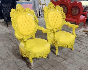 Rococo Tufted Chair *2 Chairs Available French Tufted Vintage Furniture Antique Baroque Furniture Yellow Chair Interior Design Vintage Chair