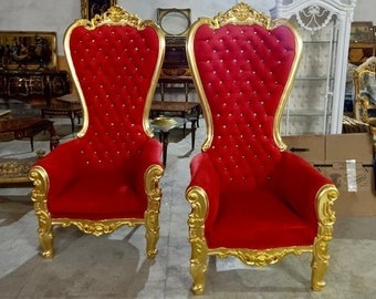 Gold Throne Chair Red Velvet Chair French Tufted Chair Throne Tufted Velvet Chair Tufted Gold Frame Throne Chair Rococo Interior Design