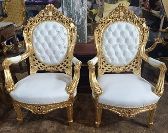 French Chair Vintage Chair *2 Available* Vintage Furniture Tufted White Leather Vintage Chair Baroque Furniture Rococo Interior Design