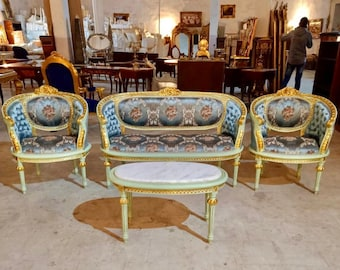 French Tufted Chair *4 Piece Set* French Settee Tufted Vintage Furniture Antique Baroque Furniture Rococo Interior Design Vintage Chair