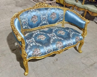 French Settee Blue French Sofa Vintage Furniture Antique Baroque Furniture Rococo Interior Design Vintage Settee